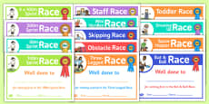 Sports Day Race Certificates Pack