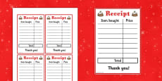 Christmas Cafe Role Play Receipt
