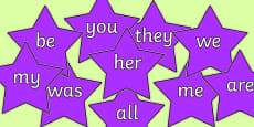 Phase 3 Coloured Tricky Words on Stars