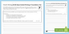 GCSE French Open Ended Writing 3 Foundation Tier Activity Sheet