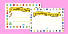 General Happy Birthday Certificates Polish