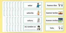 Tarjetas de vocabulario de saludos y conocerse