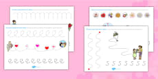 Valentine's Day Pencil Control Activity Sheets Polish
