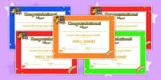 First Week Award Certificate Pre-School Kindergarten Arabic Translation