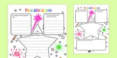 New Year's Resolution Writing Frame Spanish