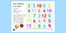 Four in a Row Dice Addition Game