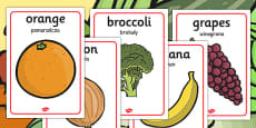 Fruit and Vegetable Display Posters Polish Translation