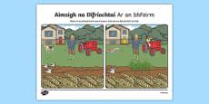 Ar an bhFeirm, Aimsigh na Difríochtaí Activity Sheet