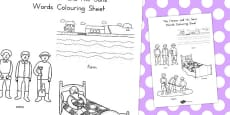Australia - The Farmer and His Sons Words Colouring Sheet