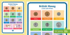 * NEW * British Money Coins and Notes Bilingual Resource A4 Display Poster
