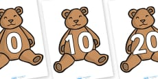 Numbers 0-100 on Teddy Bears (in tens)
