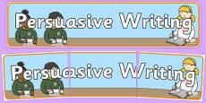 Persuasive Writing Display Banner