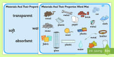 Materials And Their Properties Word Mats