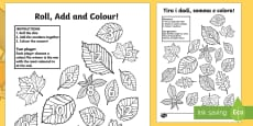 Leaf Roll and Colour Dice Addition Activity English/Italian
