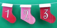 Australia - Christmas Advent Calendar Mini Stocking Bunting Numbers