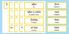 Time Conjunctions Word Cards English/Polish
