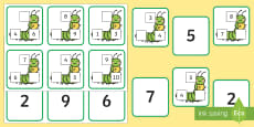 * NEW * Caterpillar Number Sequence Missing Number Matching Cards