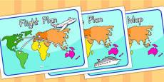 Australia - World Map Flight Plan Display Posters