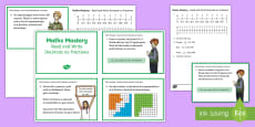 Year 5 Fractions and Decimals, Read Write Decimals as Fractions Maths Mastery Challenge Cards -