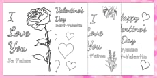 Valentine's Day Card Colouring Templates French Translation