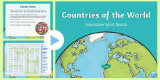 * NEW * Countries Of The World Interactive Word Search