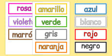 Colours Vocabulary Cards Spanish
