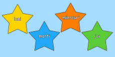 Multicoloured Stars Days of the Week Romanian