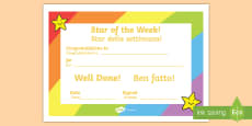 * NEW * Star of the Week Award Certificate English/Italian