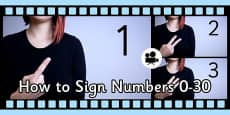 How to Sign Numbers 0-30 in British Sign Language (BSL) Close Up Video Clip