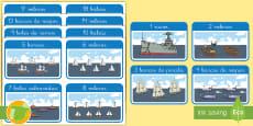 Tarjetas educativas: Los números hasta 20 - El transporte marítimo