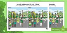 Lá Fhéile Pádraig, Aimsigh na Difríochtaí Activity Sheet Gaeilge