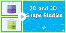 * NEW * KS1 2D and 3D Shape Riddle PowerPoint