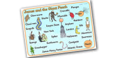 Word Mat to Support Teaching on James and the Giant Peach