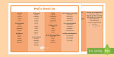 Prefix List Word Mat