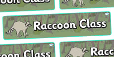 Raccoon Themed Classroom Display Banner