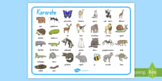 Animals Word Mat Te Reo Māori
