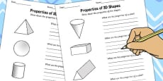 Grade 6 Properties of 3D Shapes Activity Worksheets