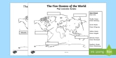 The Five Oceans Labelling Map Activity Sheet English/Polish