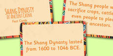The Shang Dynasty of Ancient China Display Fact Cards