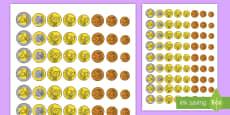 Ficha de actividad: Monedas para recortar