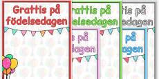 Swedish Happy Birthday Posters