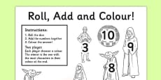 Space Wars Themed Roll and Colour Worksheet