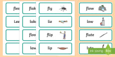 'fl' and 'l' Near Minimal Pair Word Cards