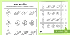 Space Themed Capital Letter Matching Activity Sheet