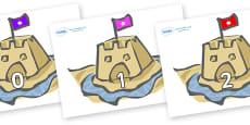 Numbers 0-100 on Sand Castles