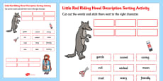 Little Red Riding Hood Cut and Stick Character Description Sorting Activity