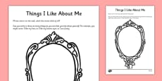Things I Like About Me Self-Esteem Activity Sheet