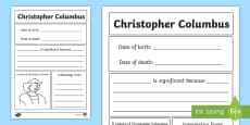 Christopher Columbus Significant Individual Writing Frame