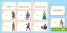 Faschingskostüme Lesen und Zuordnen Memory Karten