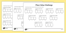 Place Value Challenge Differentiated Activity Sheet
